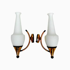 Brass Wall Lamps from Stilnovo, 1950s, Set of 2