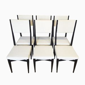 Italian High Back Dining Chairs, 1950s, Set of 6