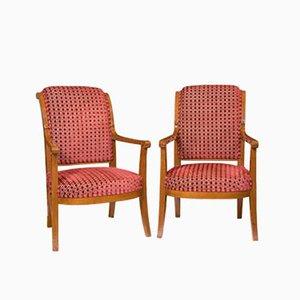 Französische Mahagoni Armlehnstühle, 1800er, 2er Set