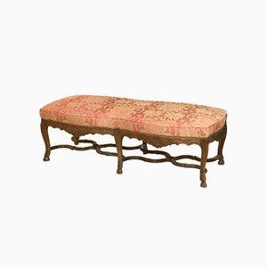 Panca grande antica in stile Regency in legno di noce intagliato, Francia