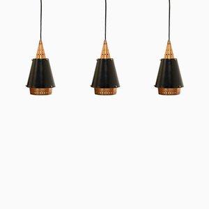 Lámparas colgantes escandinavas de acero y cobre, años 60. Juego de 3