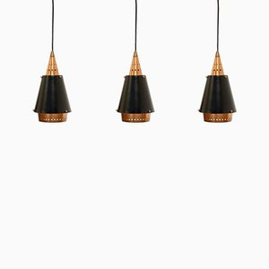 Scandinavian Copper & Steel Pendants, 1960s, Set of 3