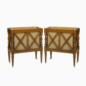 Antike Französische Übertöpfe aus Nussholz, 2er Set