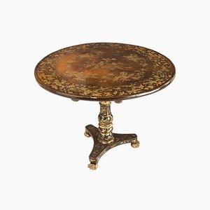 Tavolo coloniale antico laccato con piedistallo