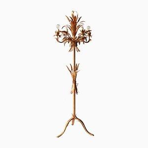 Lámpara de pie Hollywood Regency con adornos en forma de trigo, años 60