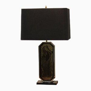 Lampada da tavolo incisa a mano e laminata in oro a 23 carati di Georges Mathias per M2000 Design, anni '70
