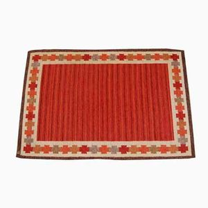 Swedish Red Flat Weave Rölakan Carpet by Ingegerd Silow