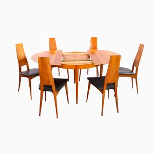 German Cherry Wood Extendable Dining Table with Six Chairs by Ernst Martin Dettinger for Lübke, 1960s, Set of 7
