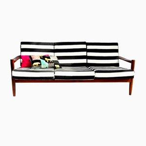 Gestreiftes Dänisches Drei-Sitzer Sofa, 1960er