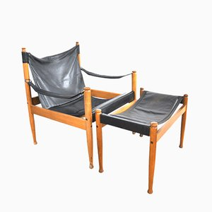 Safari Easy Chair & Fußhocker von Eric Wørts für Niels Eilersen