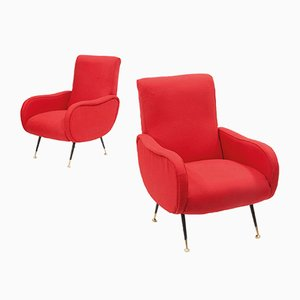 Italian Red Armchairs with Black Legs, 1950s, Set of 2