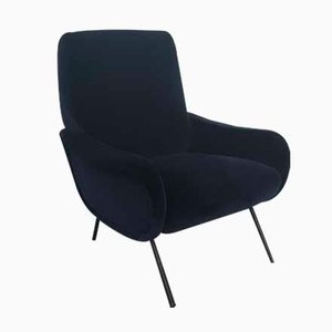 Dark Blue Velvet Italian Armchair by Marco Zanuso for Arflex, 1960s