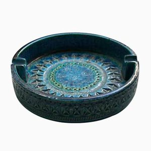 Large Rimini Blue Ashtray by Aldo Londi for Bitossi, 1970s