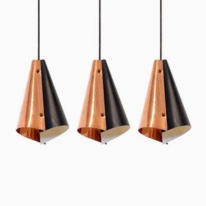 Lámparas de techo escandinavas, años 60. Juego de 3