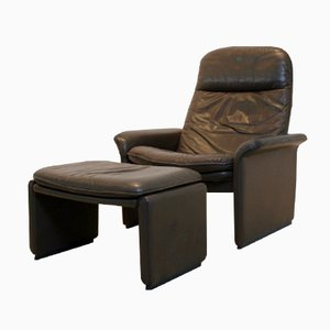 DS-50 Adjustable Brown Leather Lounge Chair & Ottoman from De Sede, 1970s