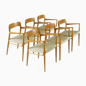 Model 75 Armchairs by Niels Møller for J.L. Møllers, 1960s, Set of 6