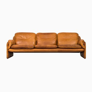 Brown Leather Three-Seater Sofa from de Sede, 1950s