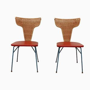 Italian Iron and Rattan Chairs, 1950s, Set of 2