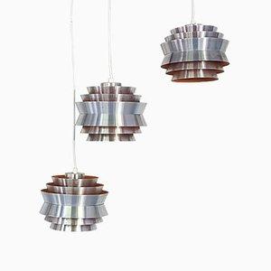 Lámparas colgantes Trava suecas de aluminio de Carl Thore para Granhaga Metallindustri, años 60. Juego de 3