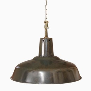 Französische Emaillierte Industrielle Deckenlampe