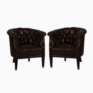 Butacas danesas estilo Chesterfield de cuero marrón oscuro, años 20. Juego de 2