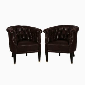 Danish Chesterfield-Style Dark Brown Leather Armchairs, 1920s, Set of 2