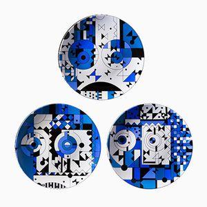 Assiettes Blue Moods 03,02 & 04 en Porcelaine Peinte par Kostas Neofitidis pour KOTA Collections, Set de 3