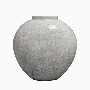 Vaso vintage a forma di cuore grigio craquelure di Trude Petri per KPM