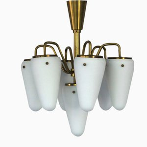 Swedish Brass and Opaline Glass Chandelier by Hans Agne Jakobsson, 1950s