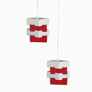 Lampes à Suspension Blanche et Métal Rouge de Kronobergs Belysning, Suède, 1960s, Set de 2