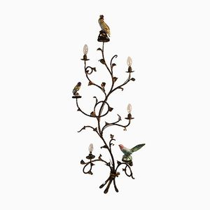 Italian Metal Wall Light with Porcelain Birds, 1940s