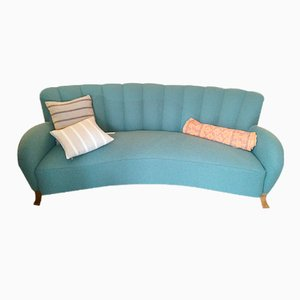 Swedish Art Deco Curved-Back Flannel Sofa