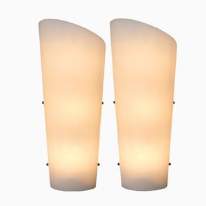 Large White Wall Lamps, 1950s, Set of 2