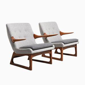 Lounge Chairs by Fredrik Kayser for Vatne Lenestolfabrikk, 1960s, Set of 2