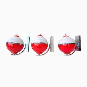 Apliques de cristal de Murano rojo y blanco, años 60. Juego de 3
