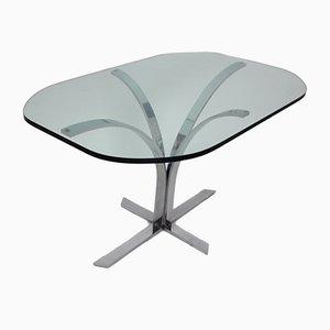 Mesa de comedor alemana de vidrio y metal cromado, años 60