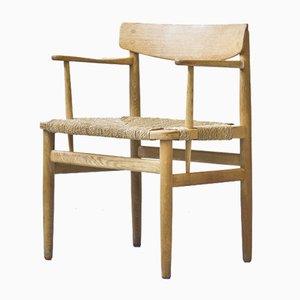 Schwedischer Armlehnstuhl aus Eiche & Papierseiten von Børge Mogensen für Karl Andersson & Söner, 1950er