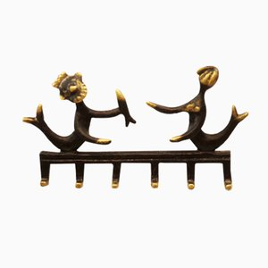 Brass Neptune and Mermaid Wall Hook by Walter Bosse for Hertha Baller, 1955