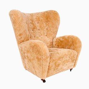 Dänischer Sessel aus Schafwolle