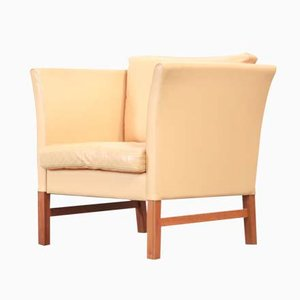 Danish Beige Leather Armchair, 1970s
