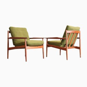 Scandinavian Teak Armchairs by Arne Vodder for Glostrup, 1960s, Set of 2