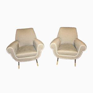 Italian Grey Armchairs, 1950s, Set of 2