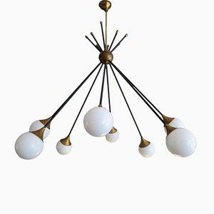 Mid-Century Italian Brass & Glass Sputnik Chandelier