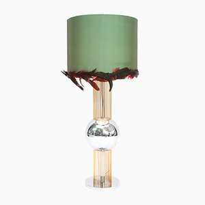 Lampada da tavolo con paralume di piume, Italia