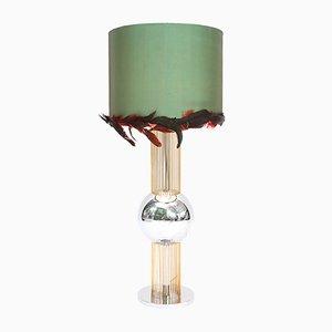 Lámpara de mesa italiana vintage con hojas en la pantalla