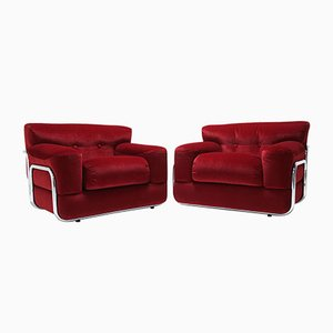 Red Velvet Lounge Chairs with Tubular Chrome Frame, 1970s, Set of 2