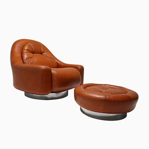 Vintage Lounge Chair with Ottoman by Guido Faleschini for Mariani