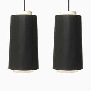 Lámparas colgantes alemanas de metal blanco y negro, años 60. Juego de 2