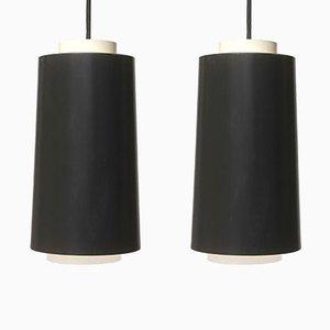 Lampes à Suspension Noires et Blanches en Métal, Allemagne, 1960s, Set de 2