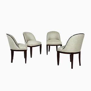 Österreichische Stühle aus Mahagoni & Leinen, 1910er, 4er Set